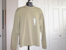 CONSENSUS MEN's XL Sand ON Sand Stripe Mock Tee Sweater Cotton Blend NWT