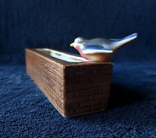 More details for branksome china bird perching on water trough bird feeding hand painted figurine