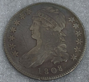 1808 Capped Bust Silver Half Dollar Coin Lettered Edge EF Awesome Details/ Coin