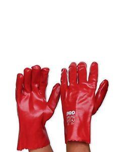 ProChoice 12pk Red 27cm Single Dip PVC Safety Glove - PVC27