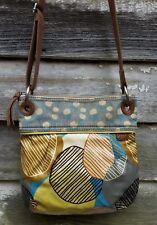 Vintage FOSSIL Key Per Multi-Color Coated CANVAS Zip Crossbody Shoulder Bag M