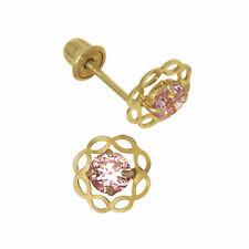 14k Yellow Gold Sep Birthstone Sapphire Screw Back Baby Earrings