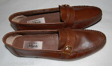 Mens Dress Shoes BROWN ALFREDO CLASSIC ALL LEATHER LOAFERS Gold Buckle SIZE 7.5