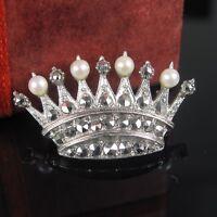 Art Deco Krone Silber 835 Brosche mit Smaragd Markasit Perle Handarbeit Damen