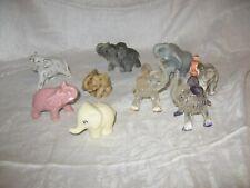 9 small vintage elephants elephant figurines figures plastic pottery ceramic