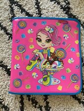 Vintage Lisa Frank Cherri Candy Girl Sundae Zip 3-Ring Glitter Binder 90s