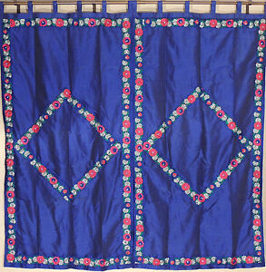 """Floral Embroidery Navy Blue Curtains - 2 Faux Dupion Window Fashion Panels 82"""""""