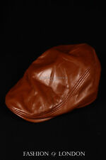 Burnished FLAT CAP Real 100% Lambskin Leather Newsboy Bunnet Golf Ascot Beret