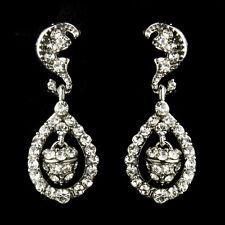 Antique Silver Clear Acorn Crystal Bridal Earrings #2849