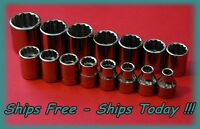 "Craftsman 3/8"" Drive 15 PC Piece 12 Pt Point Metric MM Socket Set Chrome 6-21 mm"