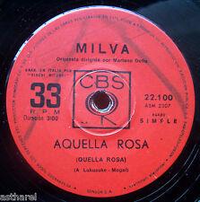 """MILVA PRIMER AMOR + AQUELLA ROSA RARE URUGUAY PROMO 7"""" Italia*"""