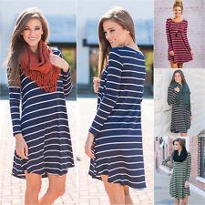 Women's Long Sleeve Striped Tunic Dress Tops Fashion T Shirt Swing Loose Blouse