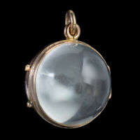 ANTIQUE VICTORIAN GLASS GLOBE LOCKET PENDANT 9CT GOLD CIRCA 1900