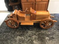 Vintage  Old Wooden 1920-1930 Hand Carved Car From Family Estate