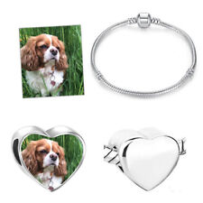Personalised Photo Love Heart Charm/Bead Bracelet - Silver Memory Gift Jewellery