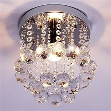 Crystal Droplets Silver Chrome Ceiling Pendant Light Chandelier Fitting Lamp WR