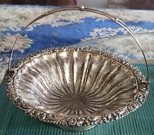 ANTIQUE VICTORIAN HEAVILY HAND CHASED SILVERPLATE ON COPPER BRIDES BASKET