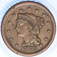 "1853 ""BRAIDED HAIR"" LARGE CENT,  CHOICE VF/XF DETAILS, CLASSIC OLD COIN!"