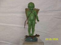Art Deco Bronze Metal Patinated Sculpture of Child Statue Stone Base