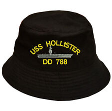 100% Cotton Military Bucket Cap Hat USS HOLLISTER DD 788 SHIP LOGO