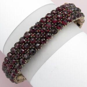 Antique Victorian Bohemian Garnet Cluster Wide Bangle Bracelet