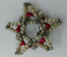 Vintage Japanese Beaded Star - Silver/Red Wreath - 1940s