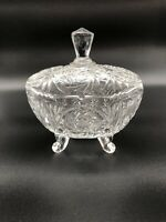 Vintage Pressed Glass Candy Dish Footed with Lid Sawtooth/Scalloped Edge