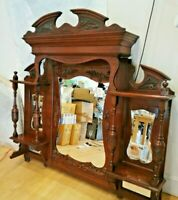 ANTIQUE LARGE VICTORIAN Heavily Carved Oak Mirror Back with shelves