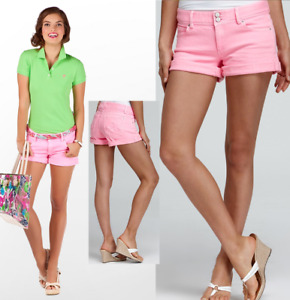 Lilly Pulitzer Clifton Neon Pink Stretch Rolled Cuff Denim Jeans Shorts 12