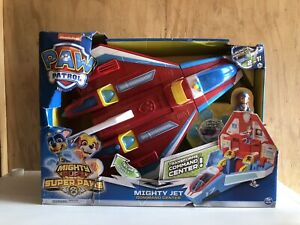 NEW*PAW PATROL SUPER PAWS, 2-IN-1 TRANFORMING MIGHTY PUPS JET COMMAND CENTER