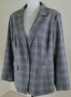 LOFT Plus~Woman Size 18~Gray/Black Plated Blazer Jacket Career Office Wear NWOT.