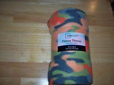 "Mainstay 50"" X 60"" Fleece Orange & Green Camo Blanket"