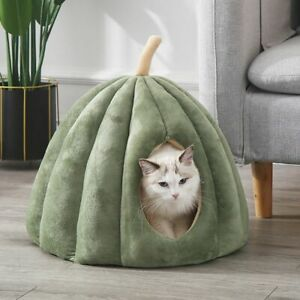 Cat Bed Cave Pumpkin Shape Warming Nest Sleeping House Washable Mat Accessories