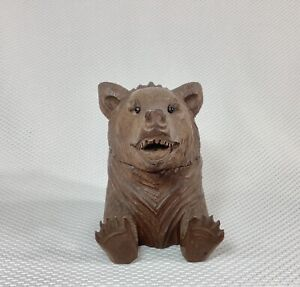 Antique Black Forest Hand carved Bear Inkwell