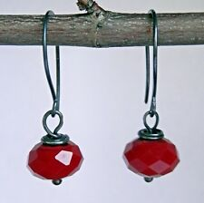 "Earrings with Red Faceted Beads ""Night Cherry"" Oxidized Sterling Silver"