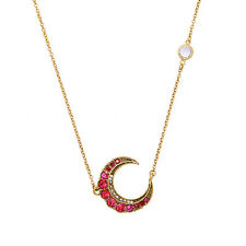 Hot Ruby Clear Crystal Pave Moon Pendant Necklace Vintage Gold Jewelry For Women