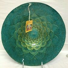 "Teal Bowl Platter Plate Decorative Turkish Delight Luster 12"" New NWT peacock"