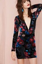Nasty Gal Small Sexy Holiday Plunging V Neck Velvet Burnout Floral Dress