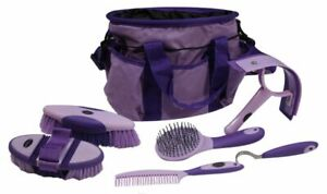 6 Pc Horse Grooming Kit Brush Comb Scraper Hoof Pick Bag RED PINK PURPLE TEAL