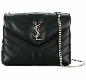 YSL Yves Saint laurent LOULOU Women Small Black Bag Silver Chain Leather  AUTH