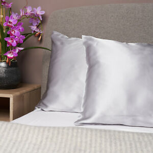 100% Pure and Organic Mulberry Silk Pillow Case - 22 Momme Grey Silver
