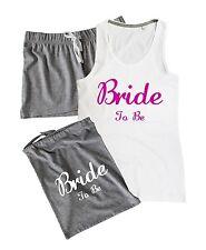 BRIDE TO BE Pyjamas Set Vest Shorts Gift Bag Wedding Party Hen Do Night Pink
