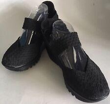 Bernie Mev Lulia Mary Jane Wedge Shoe Woven Elastic Black EU Sz 39, US 8-8.5M