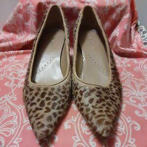 RICHARD TYLER Women's 7.5 M Cheetah Print Furry Pointed Toe Kitten Heel Shoes