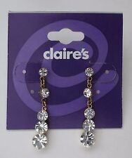 s Gold dangle stud crystal Earrings CLAIRES FASHION JEWELRY
