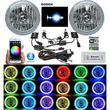 "7"" Bluetooth Phone RGB SMD LED Color Change Halo Angel Eye 6K HID Headlight Pair"