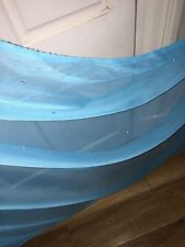 "25 MTR ROLL SOFT TURQOISE TULLE STUDDED BRIDAL/DECORATION NET FABRIC 45"" WIDE"