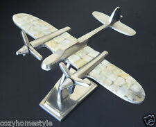UNIQ CAPIZ SHELL ENCRUSTED METAL CHROME LRG DESK TOP DISPLAY AIRPLANE MODEL GIFT
