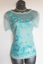 MONSOON Blue Embroidered Tulle Cap Sleeves Work Cocktail Party Vest Top MEDIUM