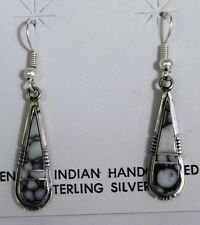 Navajo Indian Earrings White Buffalo Turquoise Inlay Dangle Sterling Silver Stev